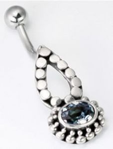 Bali Teary Sterling Silver Belly Button Ring