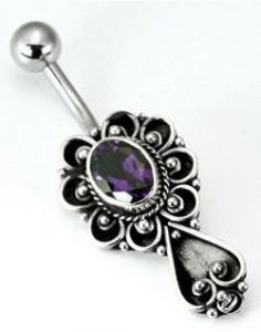 Bali Spade Sterling Silver Belly Button Ring