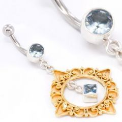 """GOLD N SILVER Bali Belly Wholesale Body Jewelry 14g 7/16"""""""