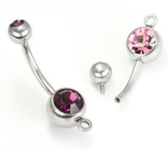 "14g 7/16"" Internal Double Jeweled Belly Button Ring with Add on Hoop"