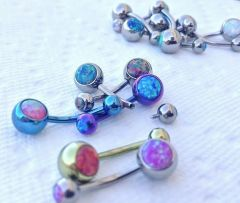 "14g Internal 1/2"" Double Opal Titanium Belly Button Ring"