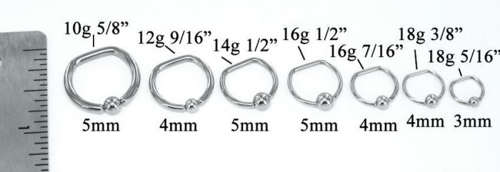 14g Stainless Steel D-Ring - Price Per 1
