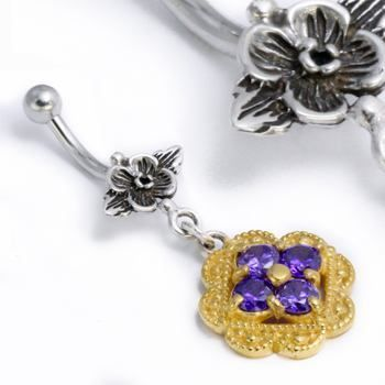 Purple #1 14g Acrylic Navel Belly Button Ring Barbell Flower Red