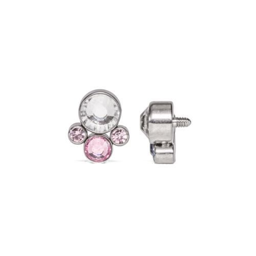 18g Bubble Body Piercing Surgical Steel Internally Threaded Double Jeweled Curved Micro Barbell Gauge