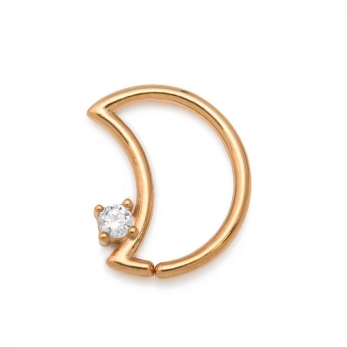 Painful Pleasures Seamless 14kt Yellow Gold Heart Ear Piece with Crystal Heart-Shaped Jewel /— Facing Left /— 16g