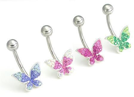 """14 g 7//16/"""" Pretty in Pink Crystal Explosion Butterfly Belly Button Ring"""