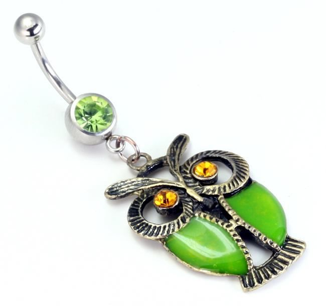 """14g 7//16/"""" Plaid Flower and Crystal Dangles Steel Belly Button Ring"""
