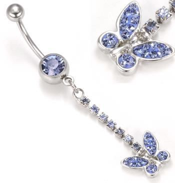 """Painful Pleasures Externally Threaded 14g 7//16/"""" Silver Plated Steel Navel Jewelry with Jeweled Butterfly Dangle"""