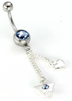 Painful Pleasures 14g 7//16 Double Heart Dangle Belly Button Ring