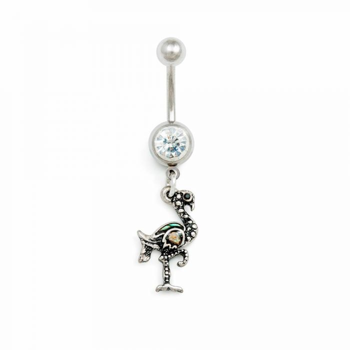 Inspiration Dezigns 14G Vintage Heart Navel Ring with Chain Dangle