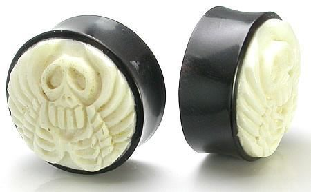 Elementals Organics Horn Ear Plug Ear Gauge With Mother of Pearl Star Red Coral Inlay