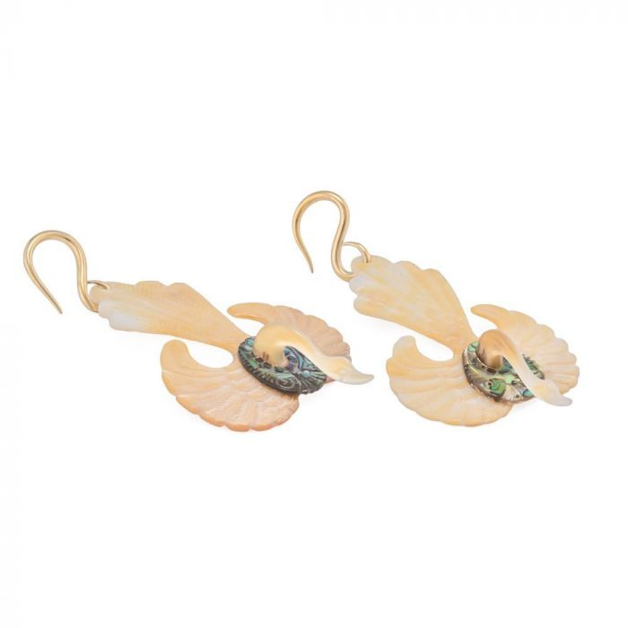 1mm-3mm Elementals Organics Golden Swan Mother of Pearl Abalone Earrings Price Per 2 ORG1634-pair-2mm