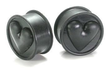 Price Per 1 Painful Pleasures Black//Black Heart Silicone Flexible Earlets from 0g up to 3//4