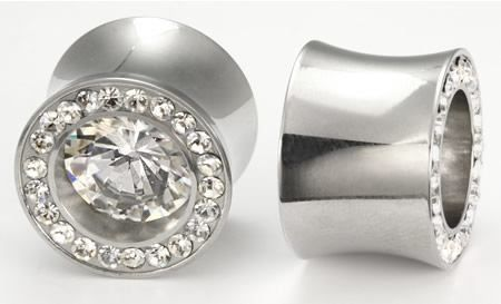 Painful Pleasures BLING Threaded Tunnel Plugs High Polish Steel Ear Jewelry 0g 1 Price Per 1