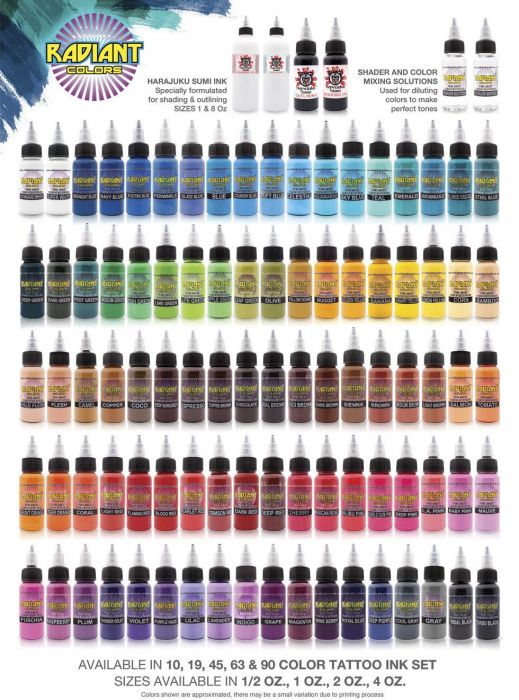 Tattoo Ink Colors >> Radiant Colors Tattoo Ink 1oz Bottle Pick Your Color