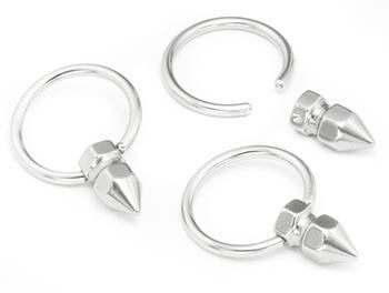 3//4 Sold Individually. Order Two for A Pair. 6g Body Circle Designs One Stainless Steel Captive Tube Ring