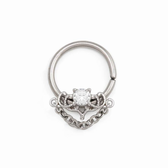 Painful Pleasures 16g Stainless Steel Septum Clicker with Double Tiered Crystals /— Price Per 1