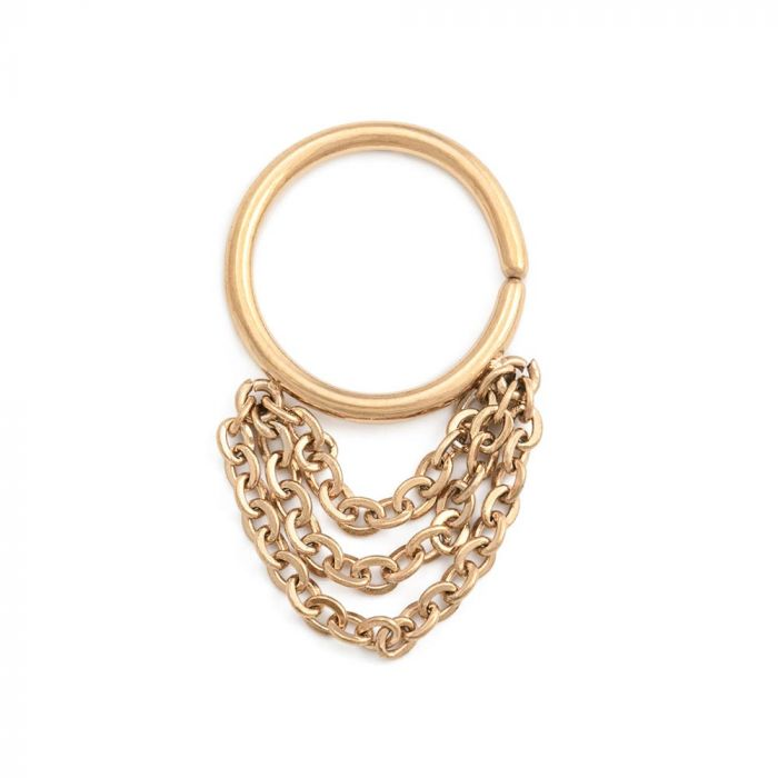 16g Tiered Chains Dangle Pvd Gold Bendable Septum Ring Price Per 1