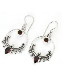 Bali Frame Indonesian Style Sterling Silver Earrings French Hook