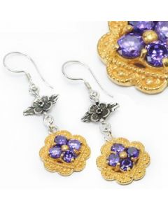 Flower n Flower Bali GOLD and Silver - Indonesian French Hook Earrings