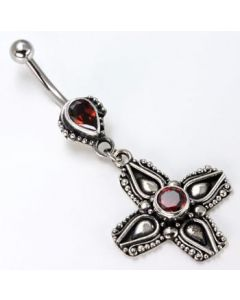 Tear Drop Indonesian with Dangle Cross Belly Button Ring
