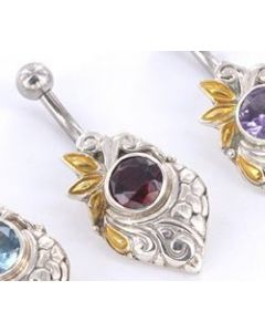 """GOLD PLATED Merpati Indonesian 14g 7/16"""" Belly Button Jewelry"""