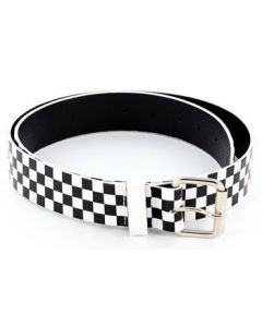 checker leather belt