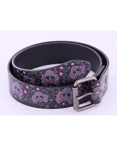 Grey Skull with Pink Outline Leather Belt
