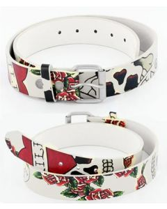 Skull and Roses Leather Belt