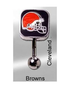 "14g 7/16"" NFL Reverse Top Down Belly Button Ring - Cleveland Browns"