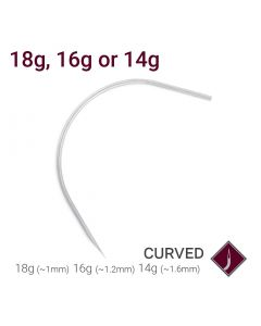 18g, 16g, or 14g Precision Sterilized Curved Piercing Needle — Price Per 1