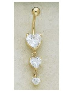 14kt Yellow or White Gold Triple Heart Dangle Navel Jewelry - Custom Made - Price Per 1