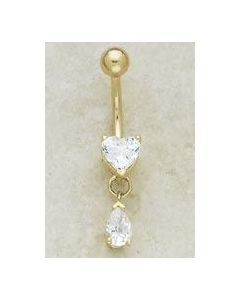 14kt Yellow or White Gold Heart with Pear Dangle Navel Jewelry - Custom Made - Price Per 1