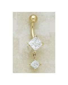 14kt Yellow or White Gold Princess Cut Dangle Navel Jewelry - Custom Made - Price Per 1