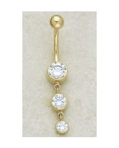 14kt Yellow or White Gold Triple Circle Dangle Navel Jewelry - Custom Made - Price Per 1