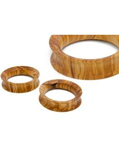 Elementals Evolved Hollow Thin Walled Double Flared Olive Wood Plug – Custom Made – Price Per 1