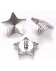 5mm Flat Steel Star Top for 12g or 14g Internally-Threaded Body Jewelry