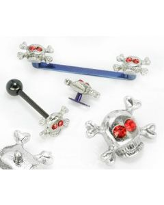 6mm Skull & Crossbones Top With Red Swarovski Crystal Eyes for 12g or 14g Internally-Threaded Body Jewelry