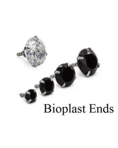 Bioplast Prong-set 3mm-6mm Jeweled Top in Crystal or Black 1