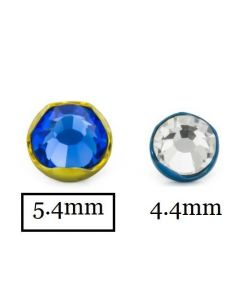 14g-12g Titanium 5.4mm Jeweled Prong Set Top Close Up