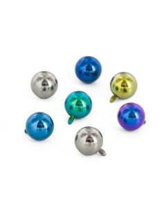14g - 12g Internally Threaded One Piece Titanium Ball