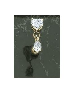 14kt Yellow or White Gold Reverse Style Heart with Pear Dangle Navel Jewelry - Custom Made - Price Per 1