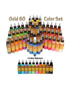 Gold Set - 60 Color Set - Eternal Tattoo Ink - 2oz Bottle
