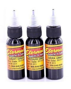 Eternal 1oz Gray Wash Set - 3 Bottles of Eternal Tattoo Ink