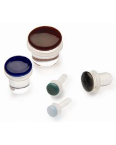 Color Front Single Flare Plug - Glass Body Jewelry - Price Per 1