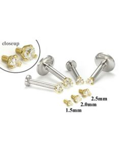 18g-16g Internally Threaded Replacement YELLOW GOLD PRONG CZ - Price Per 1