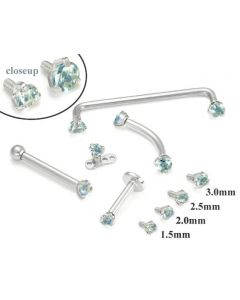 14kt WHITE Gold Internally 1.2mm Threaded LT.BLUE Prong Set Stones