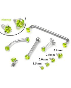 14kt WHITE Gold Internally 1.2mm Threaded LT. Green Prong Set Stones