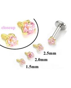 18g-16g Internally Threaded Replacement YELLOW GOLD PRONG Pink