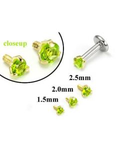 18g-16g Internally Threaded Replacement YELLOW GOLD PRONG Lt. Green